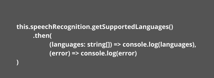 Ionic Application getSupportedLanguages