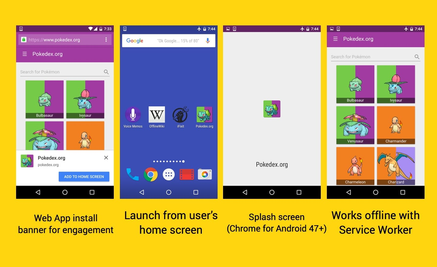 Web app install banners for engagement, launch from the user's home screen, splash screen in Chrome for Android, works offline with service worker