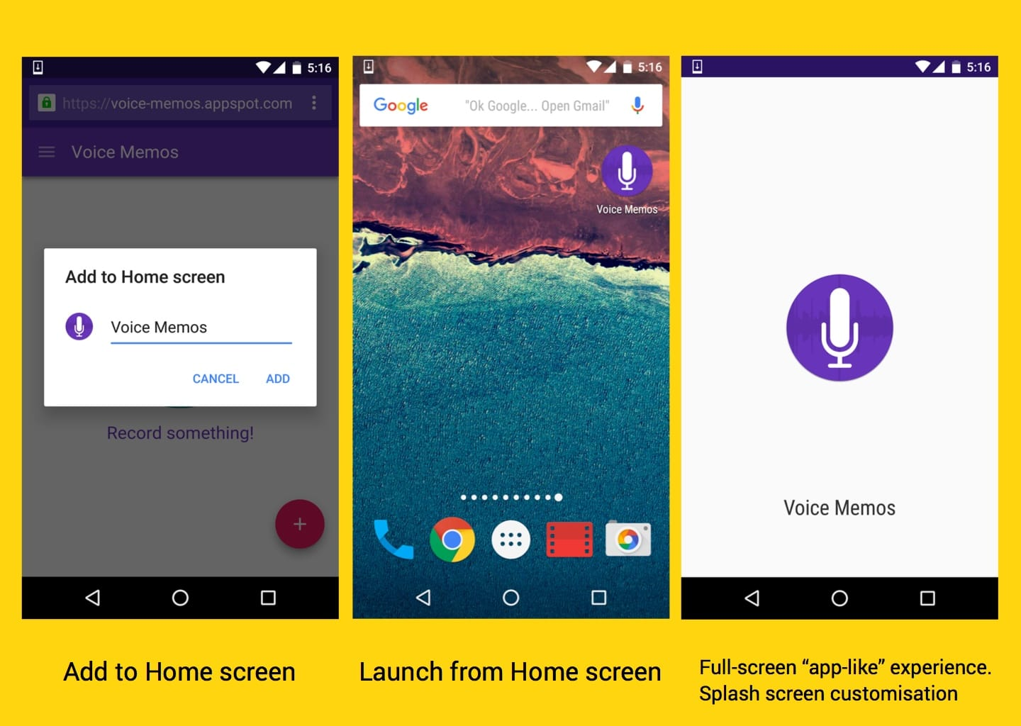 Add to home screen, launch from home screen and full-screen app-like experiences.